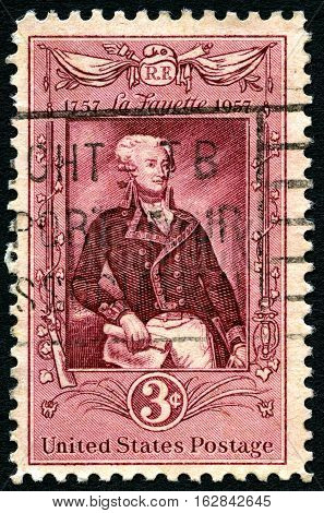 UNITED STATES OF AMERICA - CIRCA 1957: A United States Postage Stamp commemorating the 200th Anniversary since the birth of Marquis Lafayette - a famous General during the American Revolutionary War circa 1957.