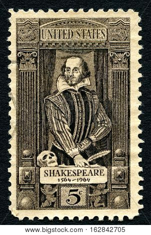 UNITED STATES OF AMERICA - CIRCA 1964: A postage stamp portraying an illustration of famous playwright William Shakespeare (1564-1616) circa 1964.