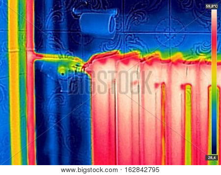Infrared Thermal Image of Radiator Heater in house