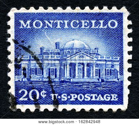 UNITED STATES OF AMERICA - 1ST MARCH 2016: A used postage stamp printed in America portraying an illustration of Monticello - the primary plantation of Thomas Jefferson circa 1956.