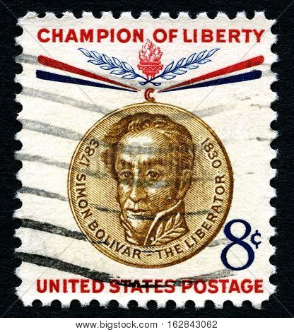 UNITED STATES OF AMERICA - CIRCA 1960: A used postage stamp from the United States of America celebrating the memory of Simon Bolivar - a Champion of Liberty circa 1960.