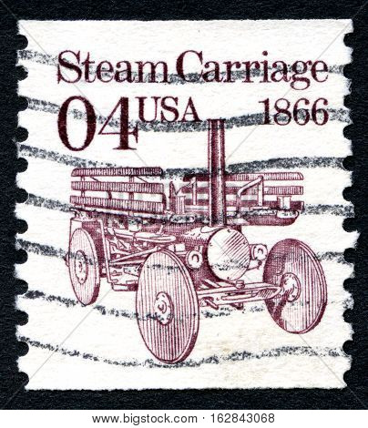 UNITED STATES OF AMERICA - CIRCA 1991: A used postage stamp from the United States of America featuring an illustration of a Steam Carriage circa 1991.