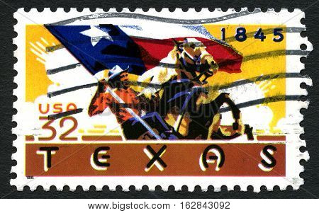 UNITED STATES OF AMERICA - CIRCA 1995: A used postage stamp from the United States of America celebrating the 150th Anniversary of Texas statehood circa 1995.