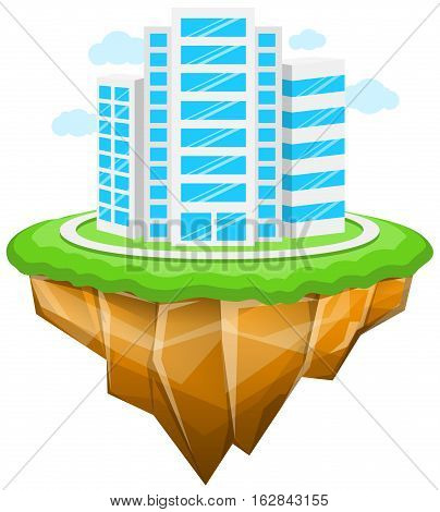 Vector Illustration of Floating City. Best for Business, Modern Life, Cityscape, Architecture & Buildings, Abstract concept.