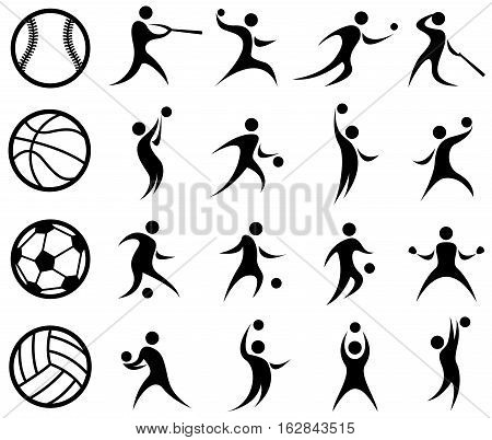 Vector Illustration of Abstract Sports Silhouettes. Best for Team Sports, Design Element, Abstract concept.