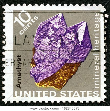 UNITED STATES OF AMERICA - CIRCA 1974: A used postage stamp from the USA portraying an illustration of the precious mineral stone Amethyst circa 1974.