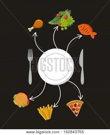 plate and curtlery with fast food and vegetables icons around over black background. colorful design. vector illustration