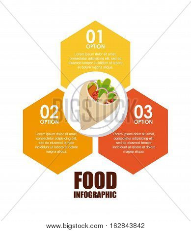 infographic presentation of food with wrap icon. colorful design. vector illustration