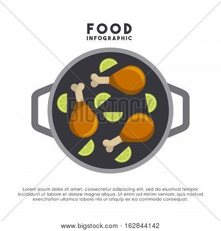 infographic presentation of food with chickens legs and lemons icons . colorful design. vector illustration