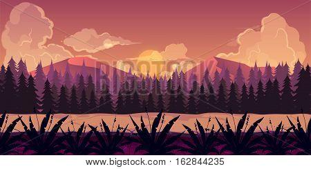 Background for games apps or mobile development. Cartoon nature landscape with forest. illustration for design graphics print or book . Stock illustration.