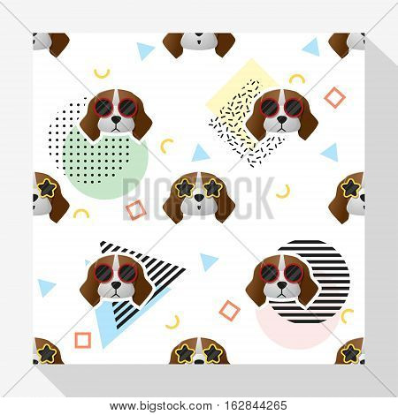 Animal seamless pattern collection with beagle dog , vector , illustration