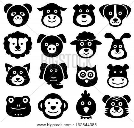 Vector Illustration of Cute Animal Faces. Best for Icon Set, Design Element, Zoology, Wildlife, Nature, Logo concept.