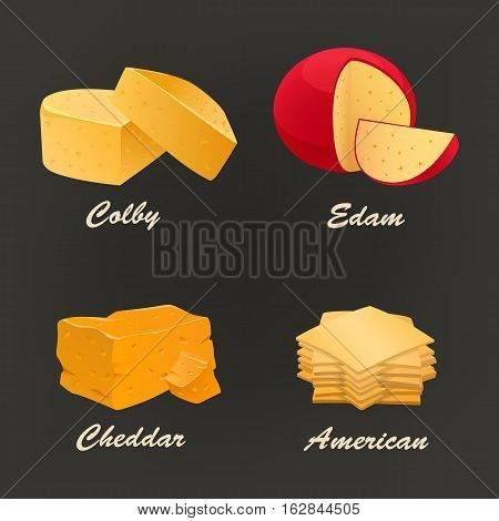 Collection of different kinds of yellow cheese icon. Vector illustration include cheddar, colby, edam and american curd. Dairy set used for logo design, advertising cheese or restaurant menu.