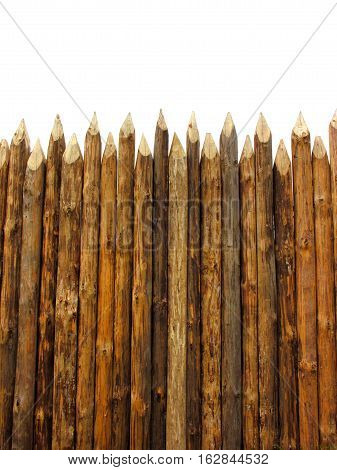 wooden paling isolated on white vertical composition