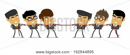 Vector Illustration of Business Tug of War. Best for Business, Competition, Business Metaphor, Conflict concept.