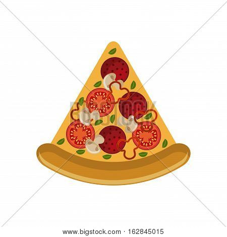 pizza icon over white background. colorful concept. fast food design. vector illustration