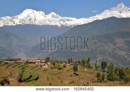 DHAMPUS, NEPAL: Himalaya mountains seen from Annapurna foothills near Pokhara
