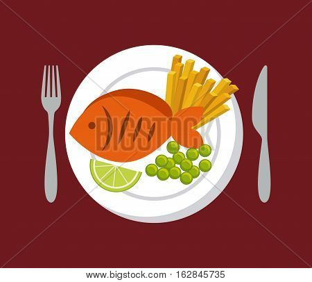 plate with fish with french fries and vegetables icon over red background. colorful design. vector illustration