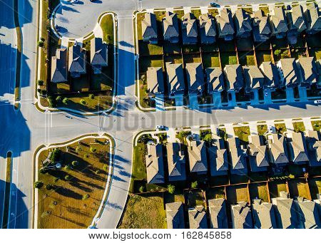 Sunset Suburban Homes North of Austin near Round Rock , Texas as Texas expands more and more homes are built in Modern Neighborhood Communities Intersections