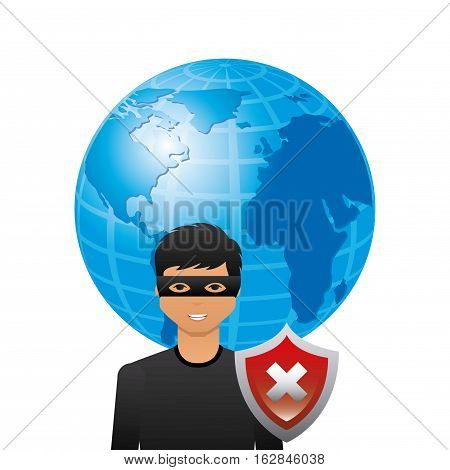 cartoon hacker man with earth planet and wrong shield icon over white background. cyber security concept. colorful design. vector illustration