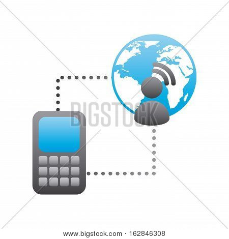 smartphone device with earth planet and social user icon over white background. colorful design. vector illustration