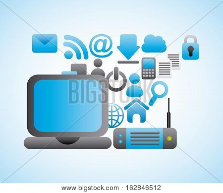 laptop computer device with social network icons around. over white background. colorful design. vector illustration