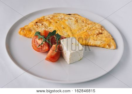 scrambled, eggs, diner, breakfast, tomatoes, goat cheese, cheese, white backgound