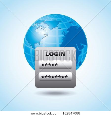 earth planet and login and password icon over white background. colorful design. vector illustration