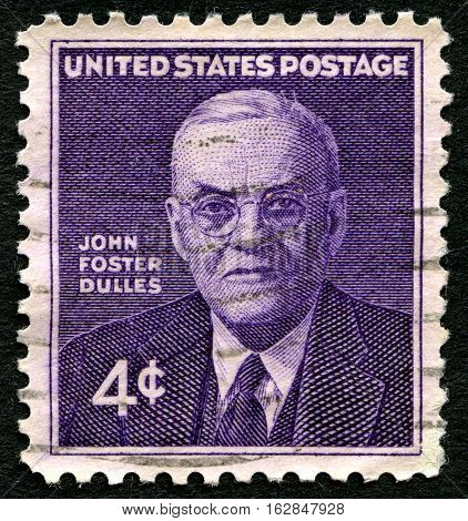 UNITED STATES OF AMERICA - CIRCA 1960: A used postage stamp from the USA depicting an illustration of historic American Politician John Foster Dulles circa 1960.