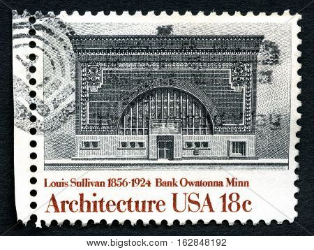 UNITED STATES OF AMERICA - CIRCA 1982: A used postage stamp from the United States of America dedicated to architect Louis Sullivan - the architect of Bank Owatonna Minn circa 1982.