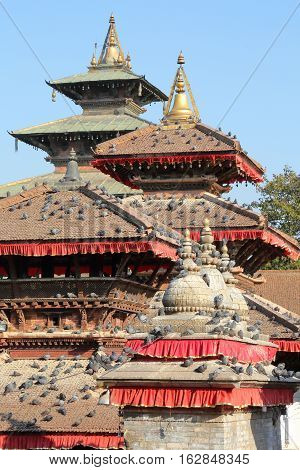 KATHMANDU, NEPAL: Durbar Square with pigeons on the roofs