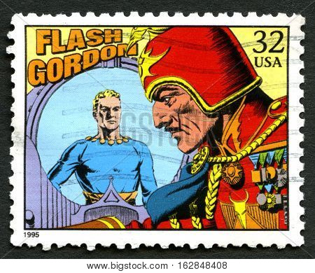 UNITED STATES OF AMERICA - CIRCA 1995: A used postage stamp from the USA depicting an illustration from the famous comic story Flash Gordon circa 1995.