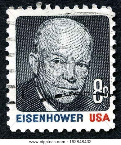 UNITED STATES OF AMERICA - CIRCA 1980: A used postage stamp from the USA depicting an illustration of former President Dwight D. Eisenhower circa 1980.