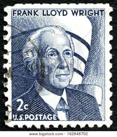 UNITED STATES OF AMERICA - CIRCA 1966: A used postage stamp from the USA depicting a portrait of famous architect Frank Lloyd Wright circa 1966.