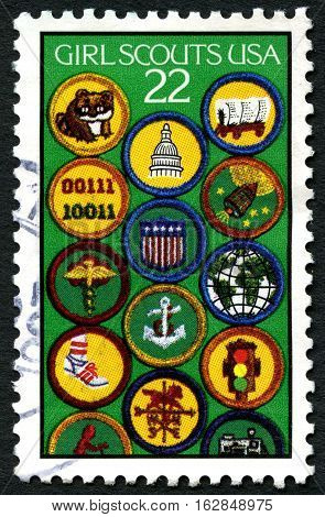 UNITED STATES OF AMERICA - CIRCA 1987: A used postage stamp from the USA celebrating the American Girl Scouts circa 1987.
