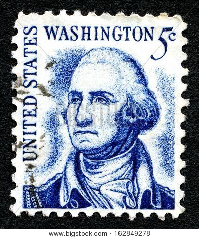 UNITED STATES OF AMERICA - CIRCA 1950: A used postage stamp from the USA depicting an illustration of the first President of the United States - George Washington circa 1950.