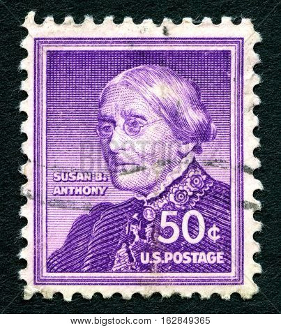 UNITED STATES OF AMERICA - CIRCA 1940: A used postage stamp from the USA depicting an illustration of American social reformer and women's rights advocate Susan. B. Anthony circa 1940.
