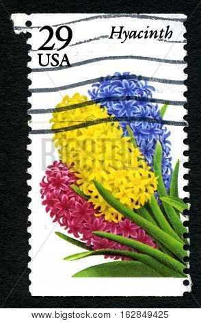 UNITED STATES OF AMERICA - CIRCA 1993: A used postage stamp from the USA depicting an illustration of a Hyacinth flower circa 1993.