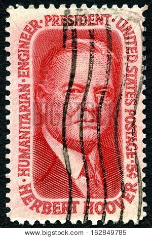 UNITED STATES OF AMERICA - CIRCA 1964: A used postage stamp from the USA celebrating the life of former US President Herbert Hoover circa 1964.