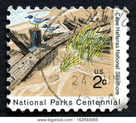 UNITED STATES OF AMERICA - CIRCA 1972: A used postage stamp from the USA depicting an illustration of Cape Hatteras National Seashore in North Carolina circa 1972.