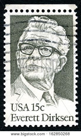 UNITED STATES OF AMERICA - CIRCA 1981: A used postage stamp from the USA depicting an illustration of historic American Politician Everett Dirksen circa 1981.
