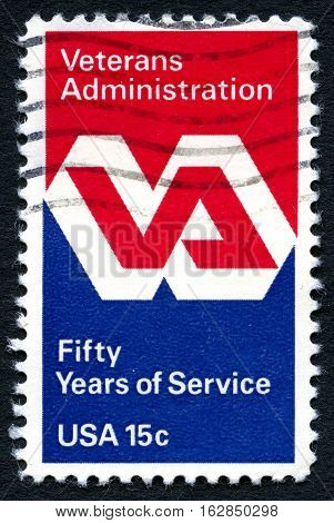UNITED STATES OF AMERICA - CIRCA 1980: A used postage stamp from the USA celebrating 50 years service of the Veterans Administration circa 1980.