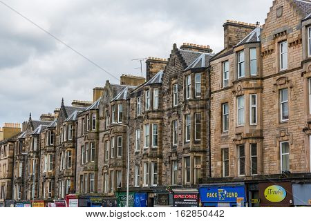 Historic Row Buildings At The Leith Walk In Edinburgh, Scotland