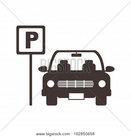 sign of parking zone with car icon over white background. vector illustration