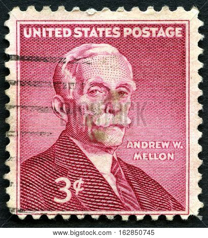 UNITED STATES OF AMERICA - CIRCA 1955: A used postage stamp from the USA depicting a portrait of former US Secretary of the Treasury Andrew W. Mellon circa 1955.