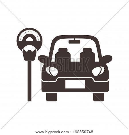 parked car and parkin meter device icon over white background. vector illustration