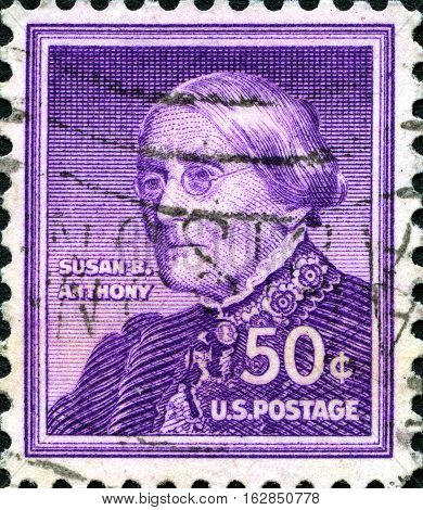 UNITED STATES OF AMERICA - CIRCA 1955: A used postage stamp from the USA depicting a portrait of Susan B. Anthony - a fighter for womens rights circa 1955.