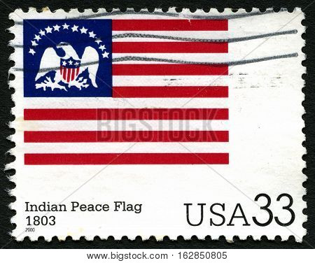 UNITED STATES OF AMERICA - CIRCA 2000: A used postage stamp from the USA depicting an illustration of the Indian Peace Flag circa 2000.