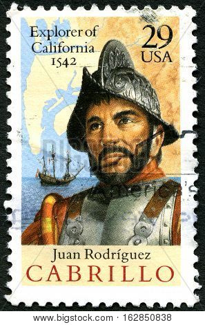 UNITED STATES OF AMERICA - CIRCA 1992: A used postage stamp from the USA portraying an illustration of historic navigator and explorer Juan Rodriguez Cabrillo circa 1992.