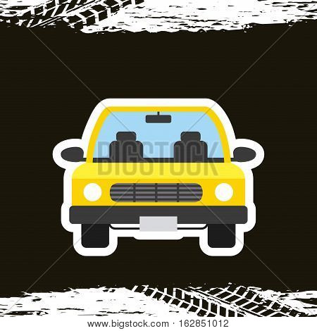 taxi car vehicle icon over black background. colorful design. vector illustration